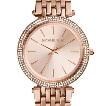 NEW Michael Kors Women's Darci Rose Gold-Tone Steel Quartz Watch MK3192 Crystal