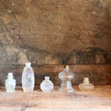5 Old Miniature Bottles : antique dug and vintage