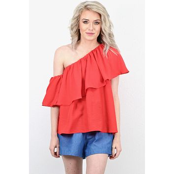 Ruffle Cold Shoulder + One Shoulder Blouse {Poppy}