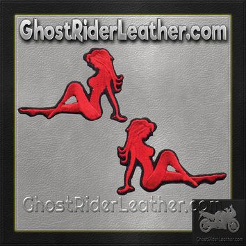 Two Sexy Mudflap Girl Patches in Red / SKU GRL-PAT-D525-D526-DL
