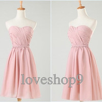 Custom short Sweetheart Chiffon Prom Dress Evening Party Homecoming Bridesmaid Cocktail Formal Dress New Arrival Lovely Bridesmaid Dress