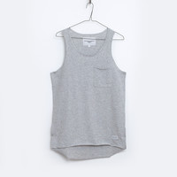 Basic Raw-Cut Elongated Tank Top in Heather Gray: WMNS