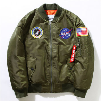 Winter Mens MA-1 Pilot Bomber Jacket Male Nylon Flying Tigers NASA Embroidery Army Green Military Air Force Flight Ma1 Jackets