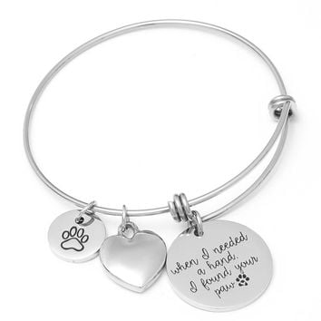 Stainless Steel Paw Charms Bracelet Heart Crystal Inspirational Quotes Wire Bangles Women Fashion Jewellery Gift Dog Cat Lover