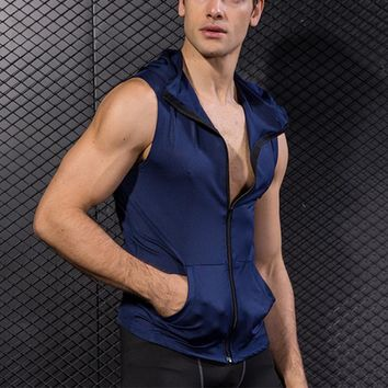 Men Tight Vest Male Gym Bodybuilding Sports Sleeveless Zipper Hooded Quick Dry Waistcoat Boys Top Shirt Packet Summer