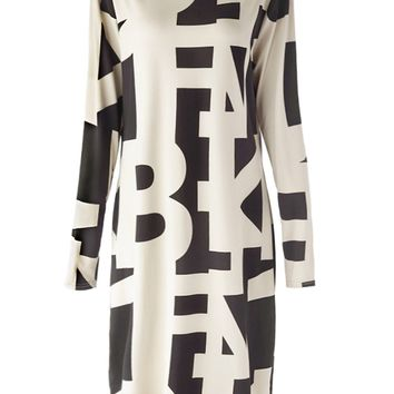 Sexy Women's Off The Shoulder Long Sleeve Geometric Dress - Off-white - XL