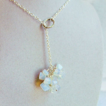Long Moonstone Cluster Style Silver Lariat Necklace