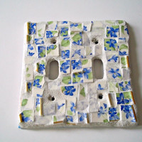 Blue and White Mosaic Switch Plate Cover - Double, Shabby Chic, Violets