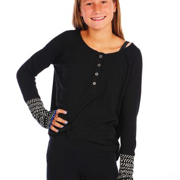 Vintage Havana Thermal Long Sleeve Drape Top - Black