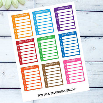 Dinner Menu Planner Stickers, Weekly Meal Planner Stickers, Fits Erin Condren Planner, Life Planner Sticker