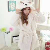 Women Winter Warm Flannel Bathrobes Cartoon Panda Design Pajama Thick Long Spa Robe Shower