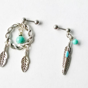 Lot of 2 316L Surgical Steel 16g, 16 gauge tribal dream catcher and feather Helix, cartilage, tragus earring
