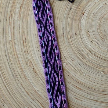 weaving cotton men arm band, table weave woven friendship bracelet, women boho ethnic braclet, purple black bracalet, viking pattern, band