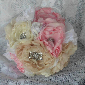 "Brooch Bouquet, Custom, Fabric Flower, Bridal, Wedding, Weddings, Vintage, 8"", Rhinestone, Pearl, Shabby Chic, Rustic, Pink, Ivory"