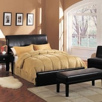 Montego espresso leather like vinyl headboard and footboard queen bed frame set