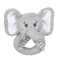 Bearington Baby Lil' Spout Elephant Plush Ring Rattle 5.5""