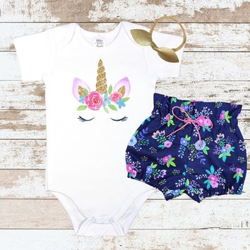 Unicorn face Navy Floral Bloomer Outfit