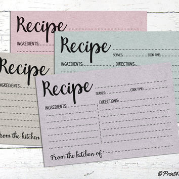 Recipe Cards // Instant Download Printable Recipe Cards // Food Labels // Planner Printables // Planning // Recipe Labels