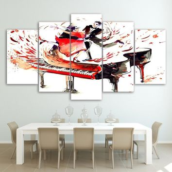 """LARGE 60""x32"" 5Panels Wall Canvas Art Poster Room Home Decor 5 Piece Pictures Abstract Piano Painting Modern HD Printed Couple"