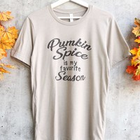 distracted - pumpkin spice is my favorite season unisex graphic tee - heather stone