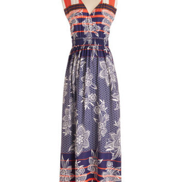 ModCloth Americana Long Sleeveless Maxi I'm Bayside Myself Dress