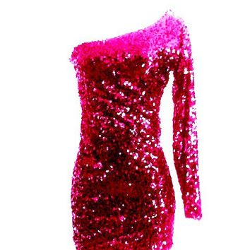 Fuschia Pink Sequin One Sleeve Sparkle Glitter Party Dress