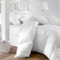 CAL KING Size 1200 Thread-Count Siberian GOOSE DOWN Comforter, 100% Egyptian Cotton, White Stripe, 750FP & 50Oz