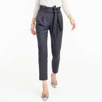 Wool flannel pant with paper-bag waist