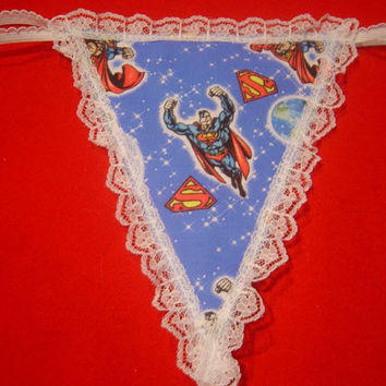 Womens SUPERMAN FLIYS G-String Thong Cartoon Lingerie Panty Underwear