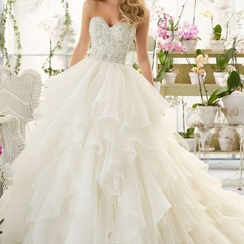Mori Lee 2815 Strapless Beaded Ruffle Ball Gown Wedding Dress