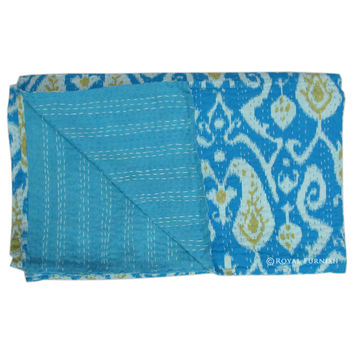 Twin Size Turquoise Ikat Kantha Quilt Throw Blanket