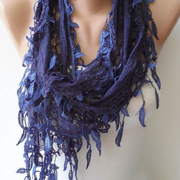 Lace Scarf - Dark Blue Laced Scarf with Trim Edge -Speacial Laced Fabric - Summer Collection -