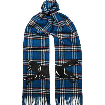 Gucci - Embroidered Checked Wool Scarf