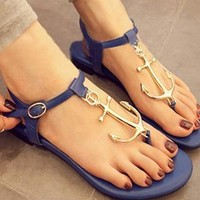 Cute Navy Anchor Thong Sandals from adaliawu