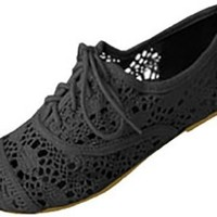 Womens Crochet Oxfords Flat Shoes Lace Up (5/6, Black 5001)