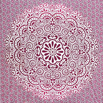 Fairdecor New Pink Ombre With Leaf Double Shaded Mandala Tapestries,Latest Exclusive Ombre Mandala Tapestry Bohemian Wall Hanging Wall Tapestries Mandala Beach Throw