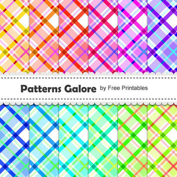 Colorful Digital Paper Backgrounds - Website Background- Blog Background- Scrapbook Paper - 12 High Res Digital Patterns - 300 DPI - P027