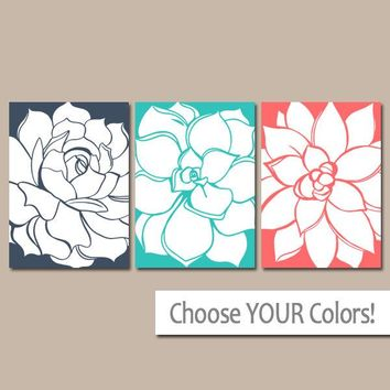 Flower Wall Art, CORAL Turquoise Navy Bedroom Pictures, CANVAS or Print, Bathroom Decor, Succulent Flowers, Floral Dahlias, Set of 3