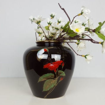 Vintage Otagiri Japanese Ceramic Vase, Black Red Green Gold Vase, Hummingbird Pattern, Asian Home Decor, Black Gold Decor, Otigiri Gibson