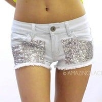 Seqiun High Waist Denim Jean Daisy Duke Cut Off Pocket Shorts Fringe Fashion