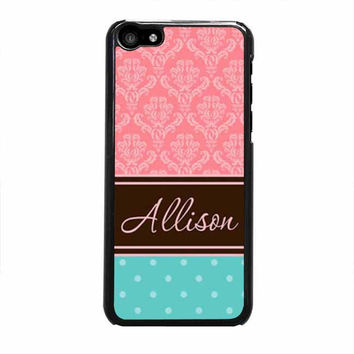 coral damask and tiffany blue polka dots iphone 5c 4 4s 5 5s 6 6s plus cases