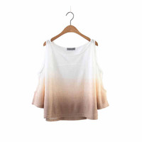 Women off shoulder cut loose tops oversized gradient T shirt three quarter sleeve tees summer casual loose camisetas LT1472