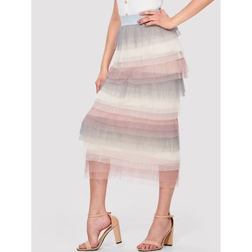 Tiered Mesh Pleated Skirt