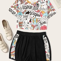 Cartoon Print Top With Shorts