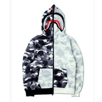 Bape AAPE Tide brand yin and yang mosaic camouflage shark head embroidery hooded jacket men and women sweater Black fight white