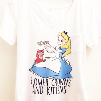 Flower Crowns and Kittens Shirt | Alice in Wonderland Disney