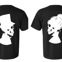Personalized Halloween Skull Couple Shirt Set