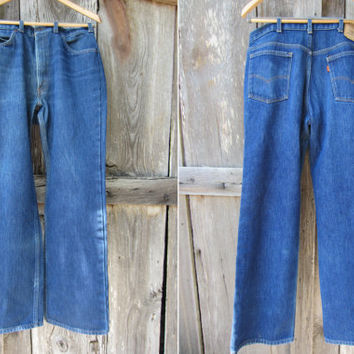 70s Insulated Levis 517 Saddleman Jeans, W34 L32 // Western Winter Jeans // Orange Tab Levi's, Made in USA