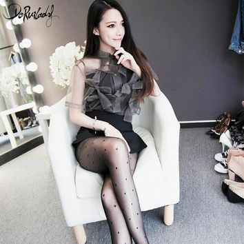DeRuiLaDy Love Heart Sexy Transparent Pantyhose Black Stockings Fashion Women's Tights  Women Sexy Tattoo Tights Hosiery