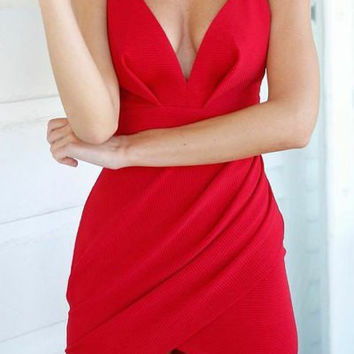 Red V-Neck Sleeveless Asymmetrical Dress